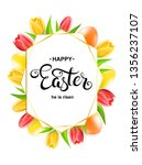 happy easter card with eggs ... | Shutterstock .eps vector #1356237107