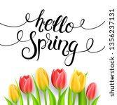 hello spring calligraphy with... | Shutterstock .eps vector #1356237131