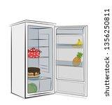 open fridge. vector... | Shutterstock .eps vector #1356250811