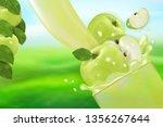 juice apple with splash. flow... | Shutterstock .eps vector #1356267644