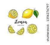 lemon fruit drawing. watercolor ... | Shutterstock .eps vector #1356276797