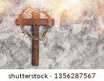 easter wooden cross on black... | Shutterstock . vector #1356287567
