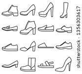 set of women's shoes outlined... | Shutterstock .eps vector #1356303617