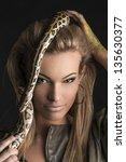 portrait of beautiful woman in... | Shutterstock . vector #135630377