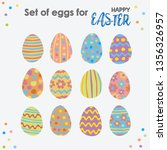 happy easter set of colorful...   Shutterstock .eps vector #1356326957