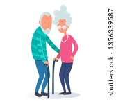 old couple. grandmother and... | Shutterstock .eps vector #1356339587