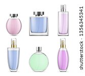perfume glass bottles various... | Shutterstock .eps vector #1356345341