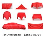 red silk cloth covered objects... | Shutterstock .eps vector #1356345797
