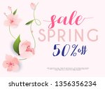 sale banner with flowers ... | Shutterstock .eps vector #1356356234