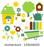 spring village and garden set...   Shutterstock .eps vector #135636035
