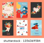 mothers day greeting card set.... | Shutterstock .eps vector #1356369584