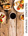 breakfast table with tasty... | Shutterstock . vector #1356370781