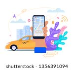 online taxi mobile phone... | Shutterstock .eps vector #1356391094