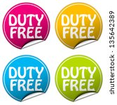 duty free sticker set | Shutterstock . vector #135642389