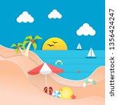 summer beach paper poster ... | Shutterstock .eps vector #1356424247