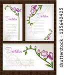 wedding card or invitation with ... | Shutterstock .eps vector #135642425