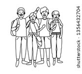 young people friends cartoon | Shutterstock .eps vector #1356432704