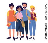 young people friends cartoon | Shutterstock .eps vector #1356433097