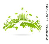 ecology concept with green city ... | Shutterstock .eps vector #1356442451