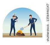 businessmen digging looking for ... | Shutterstock .eps vector #1356446147