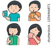 vector set of people drinking | Shutterstock .eps vector #1356466871