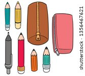 vector set of pencil and pencil ... | Shutterstock .eps vector #1356467621