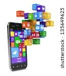 3d render of smartphone media... | Shutterstock . vector #135649625