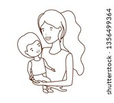 woman with baby avatar character   Shutterstock .eps vector #1356499364