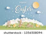 happy easter with cute bunny... | Shutterstock .eps vector #1356508094