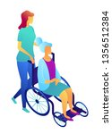 nurse pushing wheelchair with... | Shutterstock .eps vector #1356512384