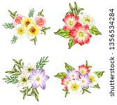 flowers set. collection of... | Shutterstock .eps vector #1356534284