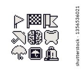 Pixel Art Icons Set  Checkered...