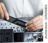 technician repairing computer... | Shutterstock . vector #135656801