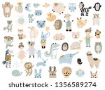 big set of wild cartoon animals ... | Shutterstock .eps vector #1356589274