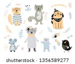 set of home pets cartoon... | Shutterstock .eps vector #1356589277