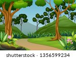 beautiful forest landscape with ...   Shutterstock .eps vector #1356599234