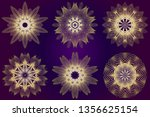 set of ethnic ornamental... | Shutterstock .eps vector #1356625154
