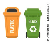 two multicolored waste bins for ... | Shutterstock .eps vector #1356635114