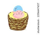 adorable newborn baby in light... | Shutterstock .eps vector #1356647657