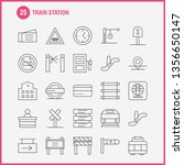 train station line icons set...