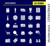 super market solid glyph icons...