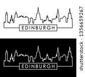 Edinburgh Skyline. Linear Style....