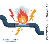 wire is burning. fire wiring.... | Shutterstock .eps vector #1356673151