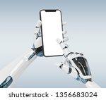 white robot hand holding modern ... | Shutterstock . vector #1356683024