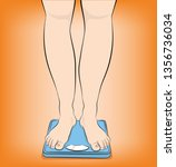woman stands on the scales.... | Shutterstock .eps vector #1356736034