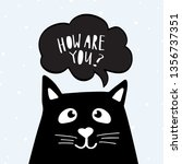 funny black cat with text how... | Shutterstock .eps vector #1356737351