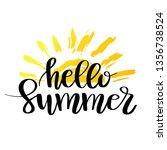 hello summer hand drawn brush... | Shutterstock .eps vector #1356738524