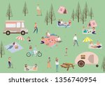 summer picnic with active... | Shutterstock .eps vector #1356740954