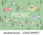 summer picnic with active... | Shutterstock .eps vector #1356740957