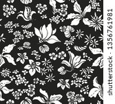 seamless vector exotic floral... | Shutterstock .eps vector #1356761981